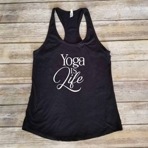 Yoga is Life - stretchy black workout shirt